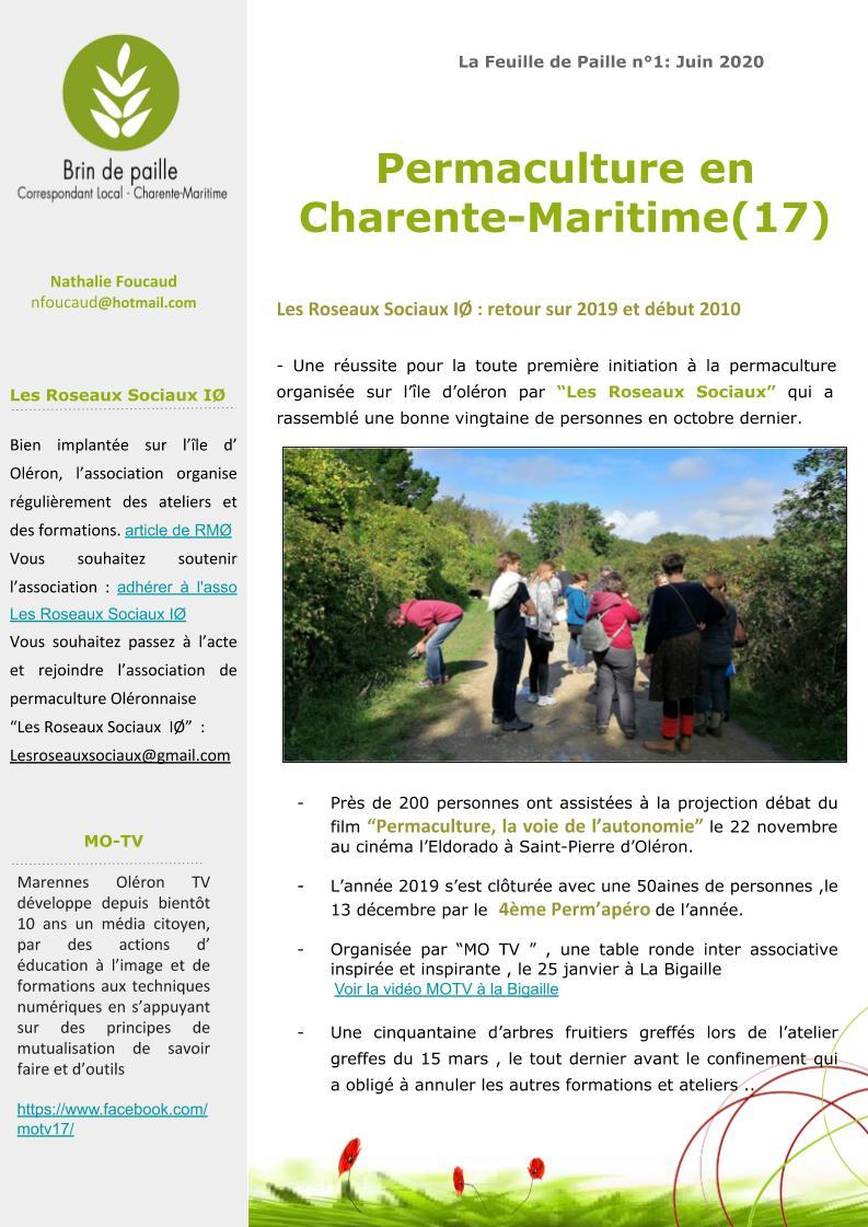 Feuille de Paille n° 1 - 1 juin 2020 Corloc Charente-Maritime 2
