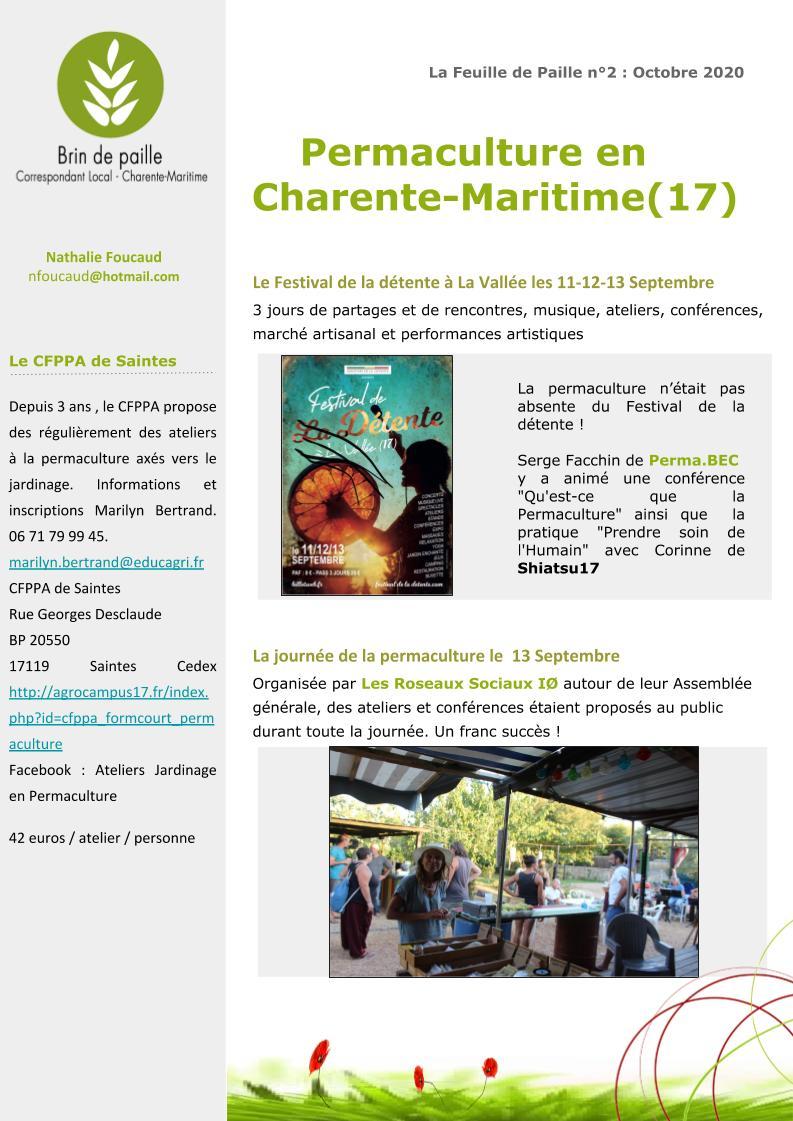 Feuille de Paille n° 2 - octobre 2020 Corloc Charente-Maritime p2