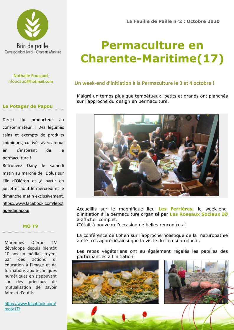 Feuille de Paille n° 2 - octobre 2020 Corloc Charente-Maritime p3