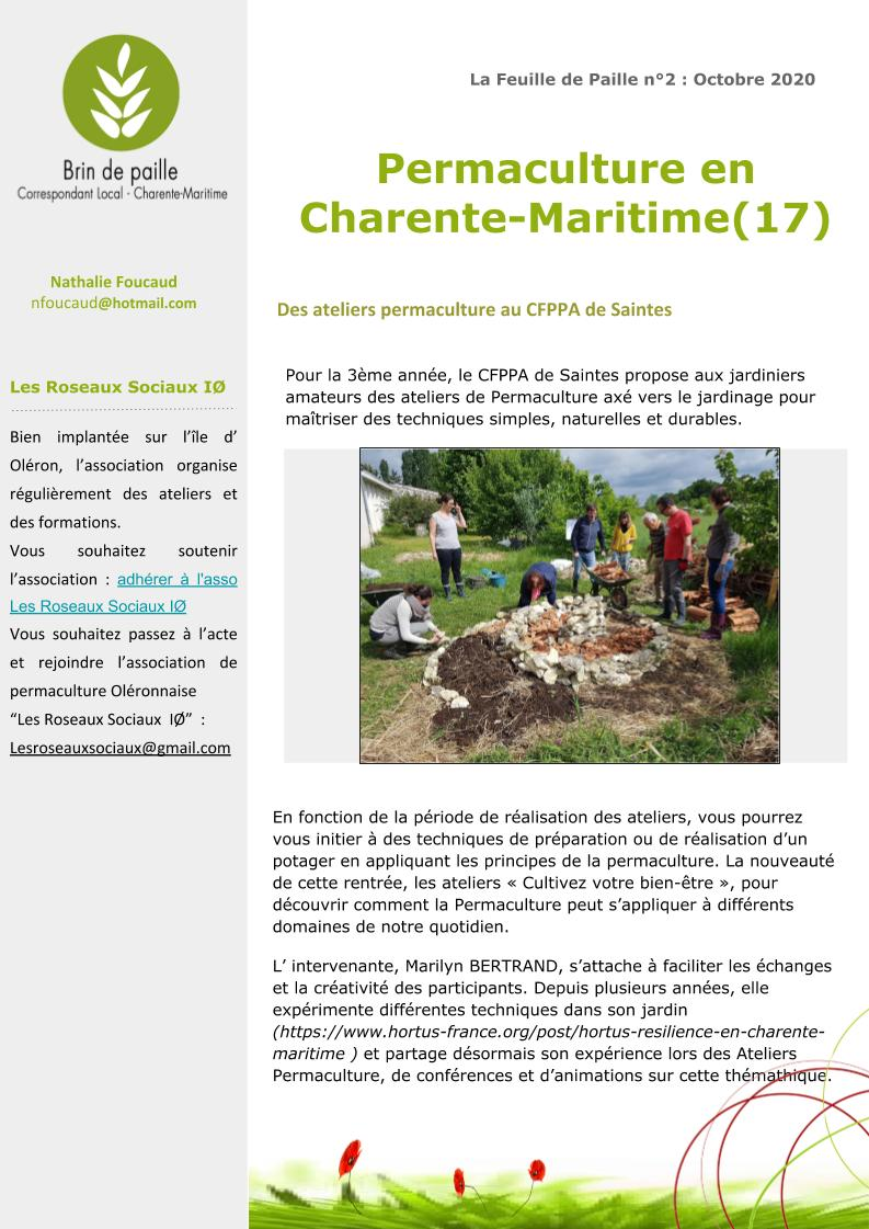 Feuille de Paille n° 2 - octobre 2020 Corloc Charente-Maritime p4