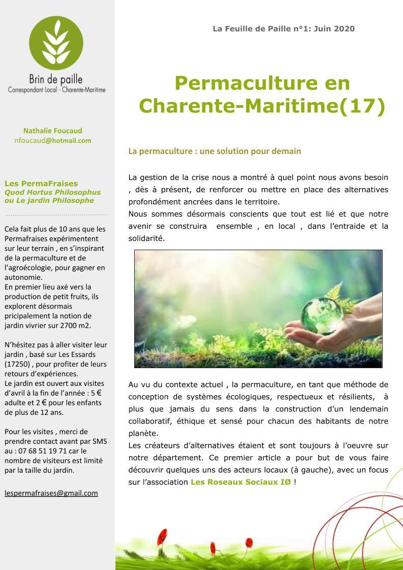 Feuille de Paille n° 1 - 1 juin 2020 Corloc Charente-Maritime